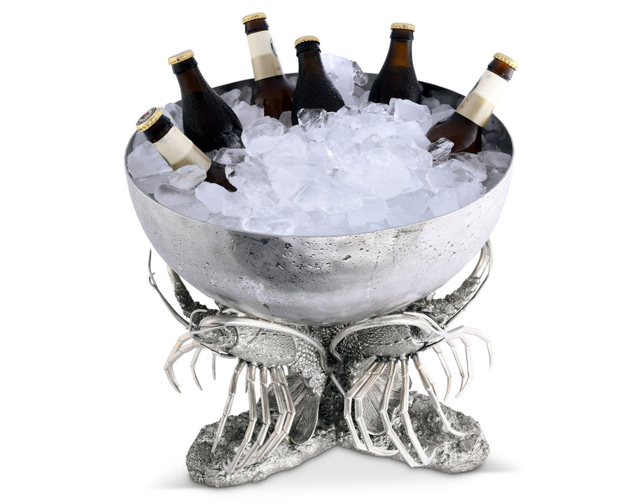 "Vagabond House Pewter Metal Lobster Ice / Punch / Beverage Tub 15.5"" Diameter x 15.5"" Tall"