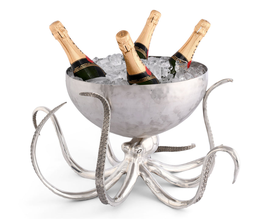 "Vagabond House Pewter Octopus with Hand Hammered Stainless Steel Ice Tub / Punch Bowl; 13"" Tall"