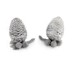 "Vagabond House Pewter Metal Black Forest / Nature Pine Cones Salt and Pepper Shaker Set -  3"" Tall"