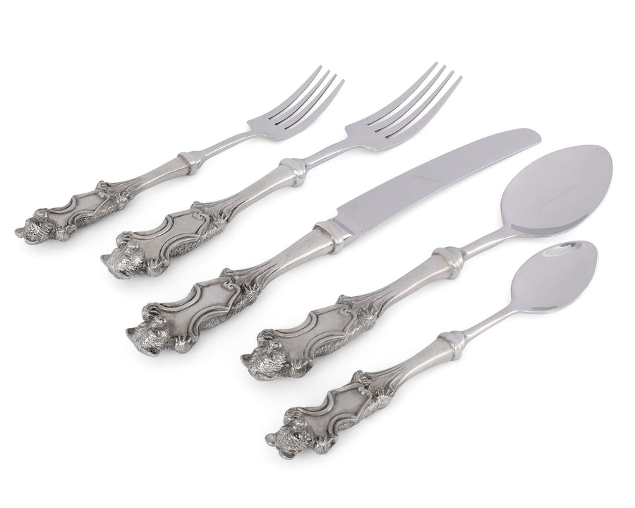 Vagabond House Pewter Bear Flatware Set | 5 Piece Cabin Lodge Placesetting set
