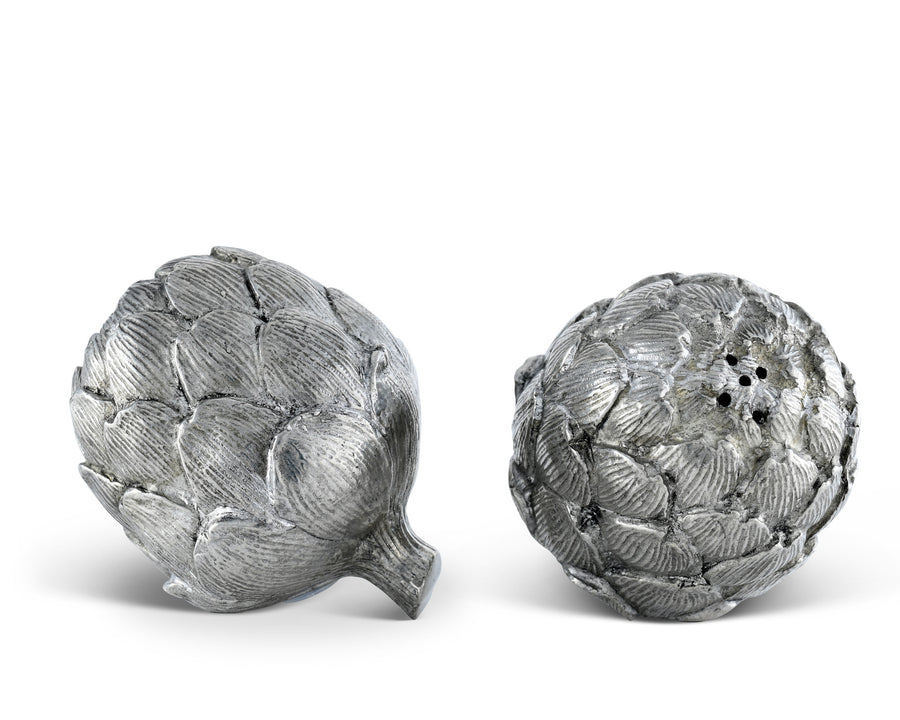 "Vagabond House Pewter Artichoke Salt and Pepper Shaker Set 2.75"" Wide x 3.5""Long"