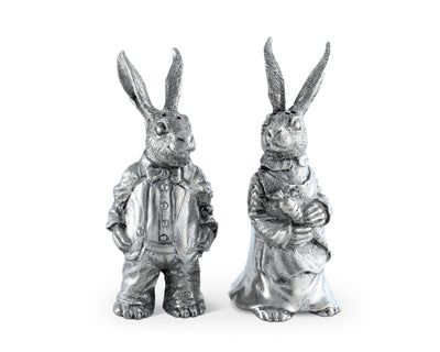"Vagabond House Pewter Metal Cute Dressed Rabbits Bunnies Salt and Pepper Shakers Set - 4"" Tall"