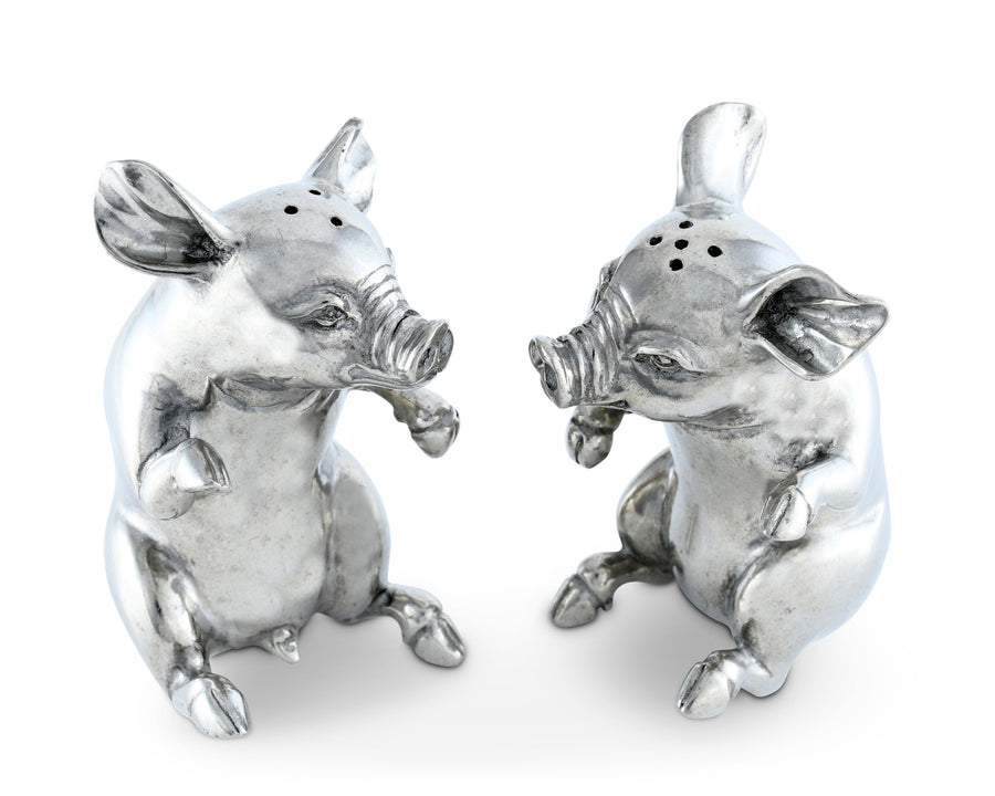 Vagabond House Happy Pewter Pigs Metal Salt and Pepper Shaker Set, 4 Inches Tall