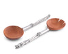 Vagabond House Pewter Asparagus and Acacia Wood Salad Server Set