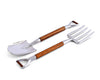 "Vagabond House Pewter Metal Fork & Shovel Head with Acacia Wood Salad Serving Set Garden Set Serving Tools 11""Long"