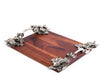 "Vagabond House Pewter Bee and Flower Hardwood Serving Tray 16"" Long x 12"" Wide"