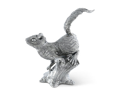 "Vagabond House Pewter Metal Black Forest / Nature Squirrel on Tree Salt and Pepper Shaker Set - 4"" Tall"