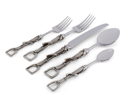 Vagabond House Pewter Metal Stirrup Equestrian Pattern 5 Piece Place Setting Flatware Everyday Lunch to Formal Dinner - Riding Décor