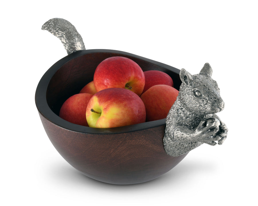 "Vagabond House Large Acacia Wood Nut Bowl with Black Forest Pewter Metal Squirrel Head and Tail - 17""Long"