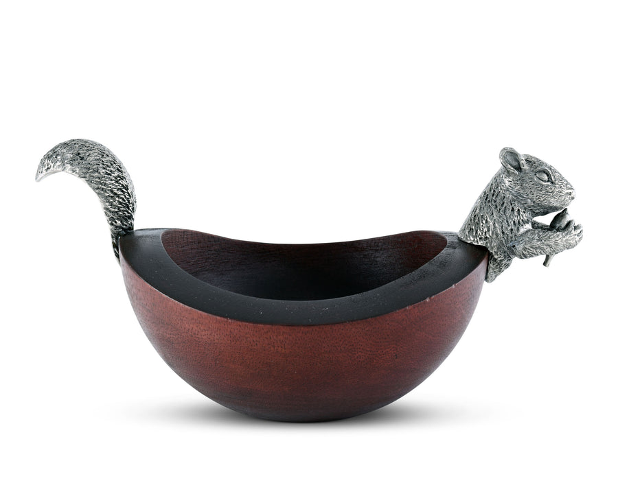 Vagabond House Pewter Metal Squirrel Head and Tail Wood Nut / Candy / Snack Bowl Dish- 10 Inch Long