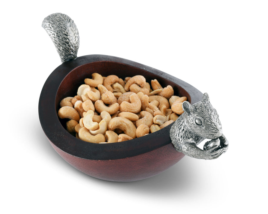 "Vagabond House Pewter Metal Squirrel Head and Tail Wood Nut Bowl - 10"" Long"