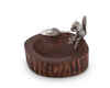 "Vagabond House Wood Nut / Candy Bowl with Standing Pewter Squirrel and Metal Pewter Scoop; 8.5"" Diameter"