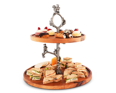 Vagabond House Pewter Branch and Squirrel with Tow Tier Acacia Wood  Plates Cheese / Dessert / Cupcake Stand 18 Inch Tall