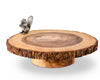 "Vagabond House Pewter Squirrel on Natutal Acacia  Wood Cheese Stand / Dessert / Cupcake Display Plate 13"" Wide x 6"" Tall"