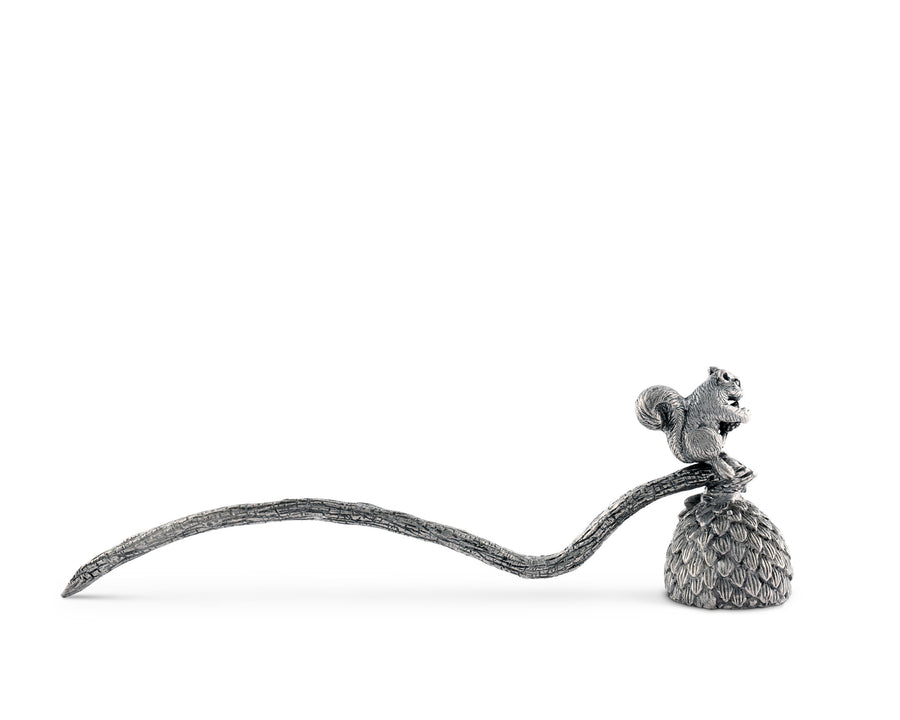 "Vagabond House Pewter Squirrel Candle Snuffer 10"" Long"