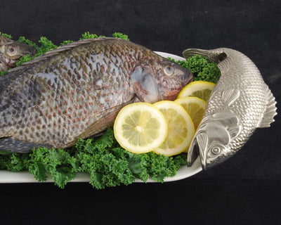 Stoneware & Pewter Fish Tray - Oblong