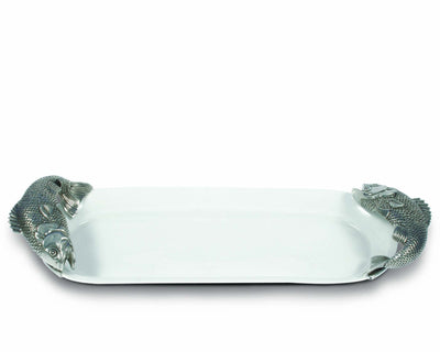 "Vagabond House 21"" Long Stoneware Tray with Pewter Fish Handles"