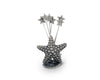"Vagabond House Pewter Metal Coastal / Ocean ""Star Fish"" Cheese Pick Set - 3.5"" Tall"