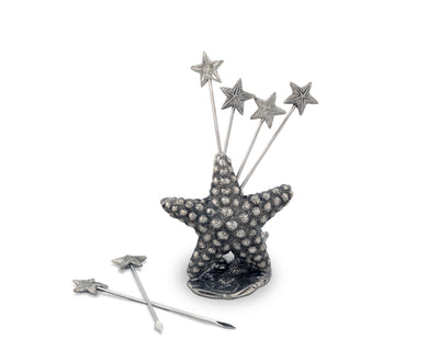 Pewter Star Fish Cheese Pick Set