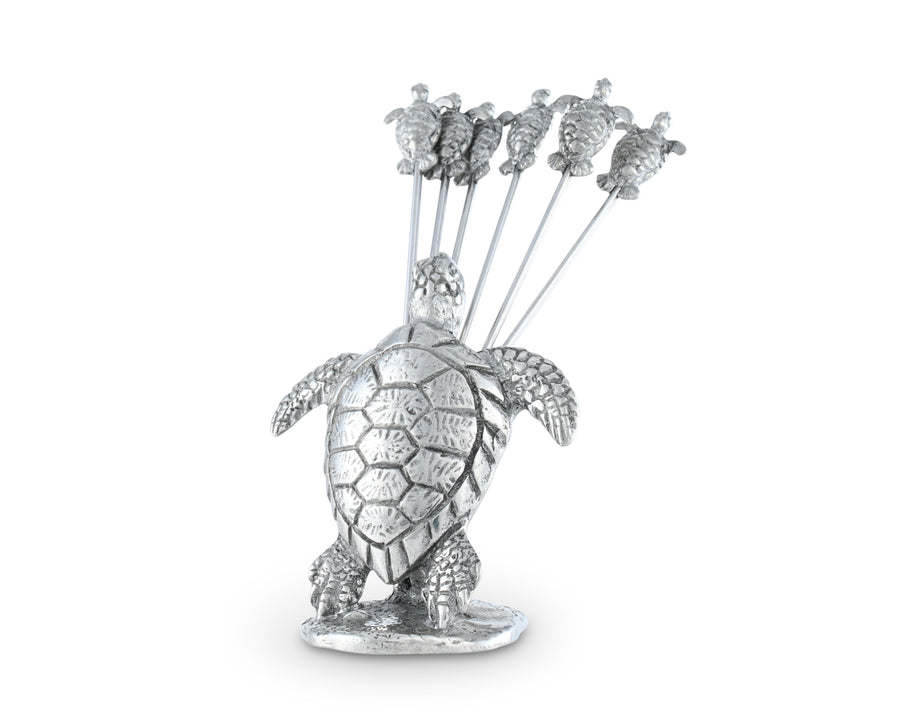 "Vagabond House Pewter Sea Turtle Cheese Pick Set 4"" Tall (6 picks in set)"