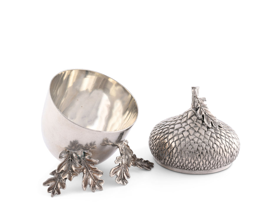"Vagabond House Pewter Metal Acorn Bowl - Woodland Rustic Décor 7"" Tall"