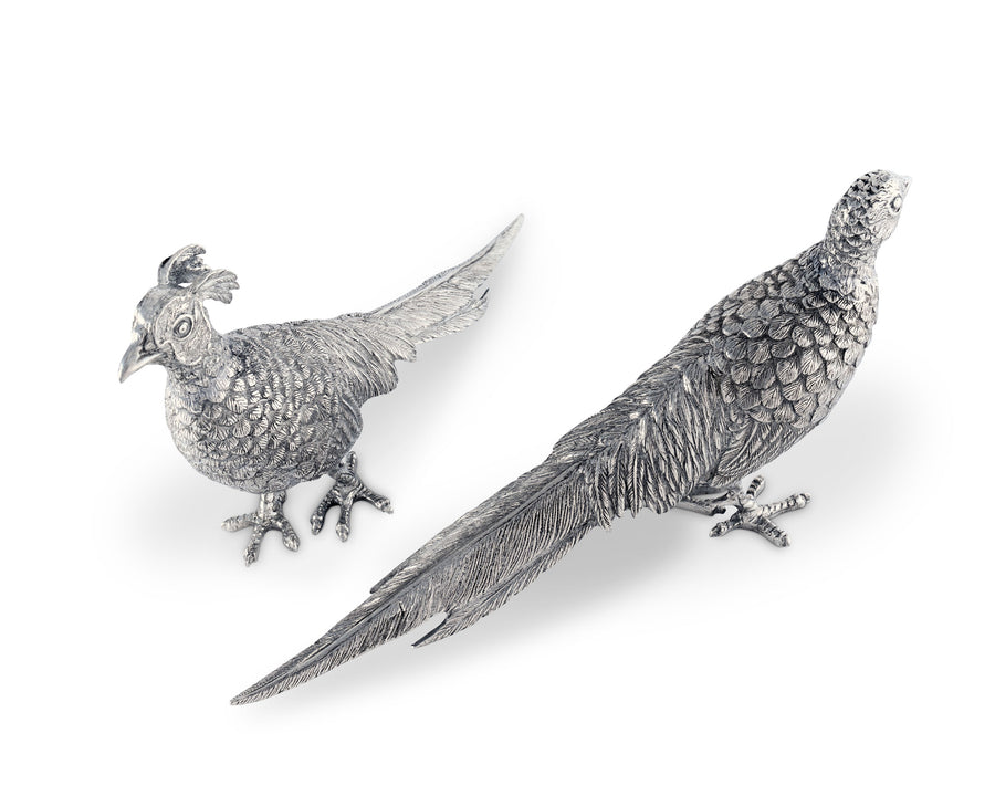 "Vagabond House Pewter Pheasant Statuettes 6"" Tall x 10"" Long"