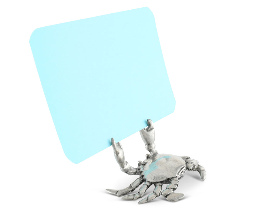 "Vagabond House Pewter Metal Crab Place Card Holder / Cheese Markers 1"" Tall"