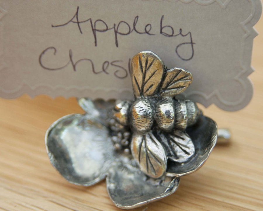 "Vagabond House Pewter Bee on Flower Place Card Holder / Cheese Markers 1.25"" Tall"