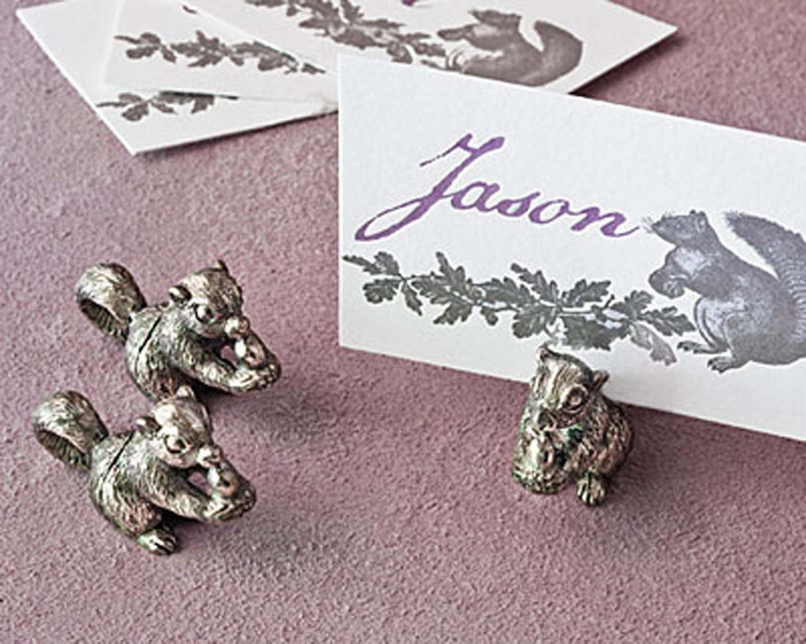"Vagabond House Pewter Squirrel Place Card Holder / Cheese Markers 1"" Tall"