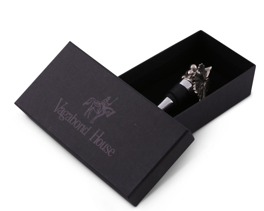 Pewter Grape Bottle Wine Stopper by Vagabond House - Artisan Designer Handcrafted - Gift Boxed