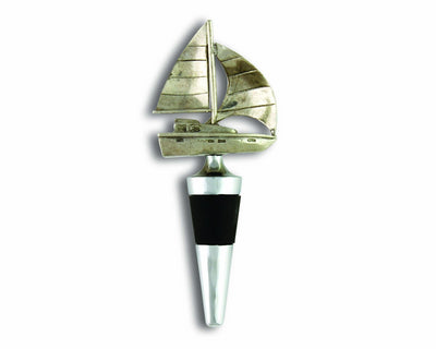 "Vagabond House Pewter Sail Boat Bottle Stopper 5"" Tall - Artisan Designer Handcrafted - Gift Boxed"