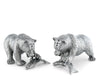 "Vagabond House Pewter Metal Nature / Wild Life ""Fishing Bear"" Salt and Pepper Shaker Set - 2"" Tall"