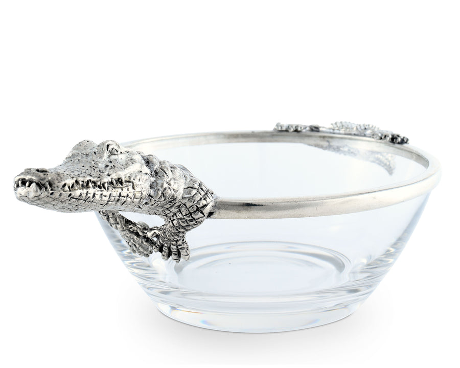 "Vagabond House Pewter Alligator Glass Dip Bowl 10.5"" Wide x 6"" Long"