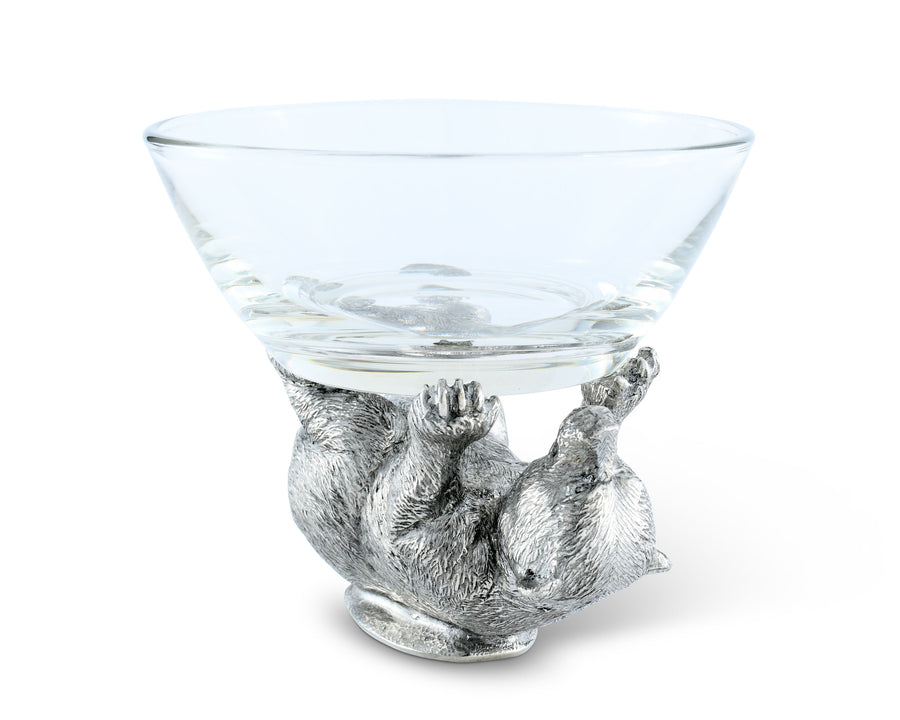 Vagabond House Dip / Nut / Sauce / Condiment Glass Serving Bowl with Solid Pewter Bear Playing Base / Nut Bowl 6 Inch Diameter