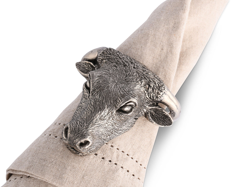 "Vagabond House Solid Pewter Metal Steer Longhorn Head Western Napkin Ring 3""Long Artisan Crafted Designer Ring"