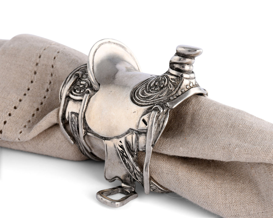 Vagabond House Pewter Cowboy Western Saddle Napkin Ring; 2.5 inches Tall Artisan Crafted Designer Ring (Sold as Single Ring)