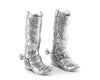 "Vagabond House Pewter Metal Cowboy Boot Salt Set Pepper Shakers Set 3.5"" Tall - Western Tableware"
