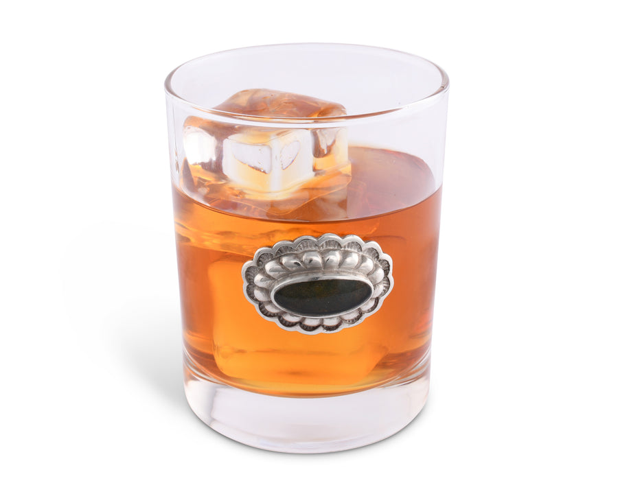 Vagabond House Concho Double Old Fashion / Bar / Whiskey / Juice / Rocks Western Tumbler Glass 4.25 Inches Tall - Sold as Single