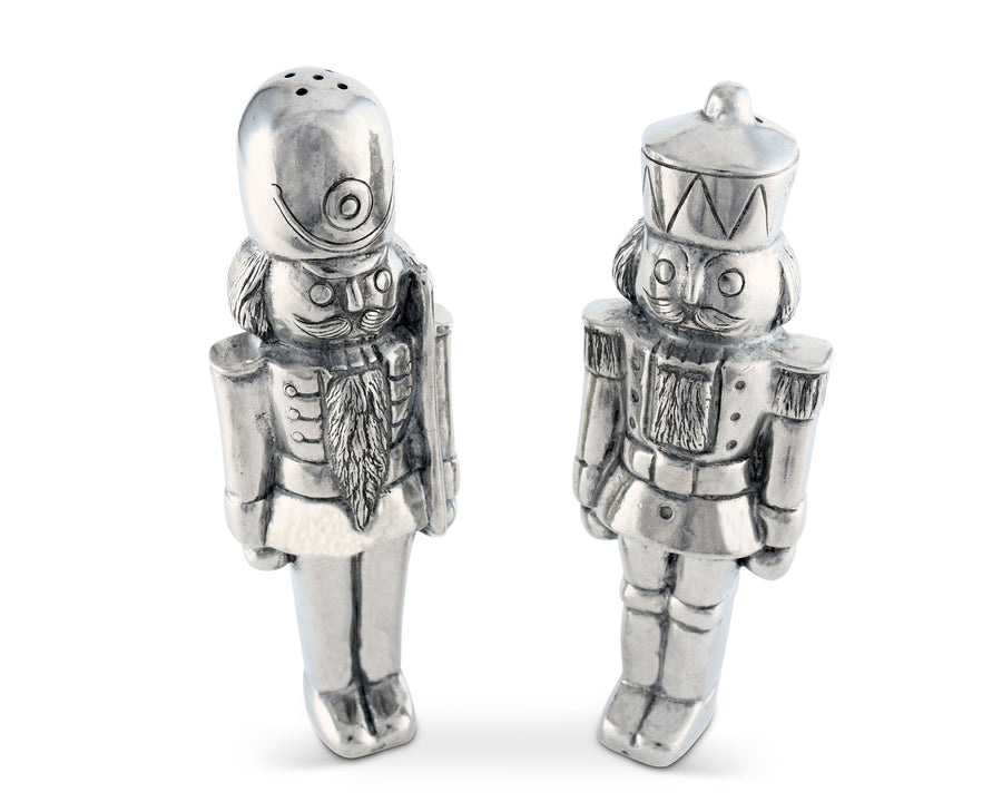 "Vagabond House Pewter Nutcracker Salt and Pepper Shaker Set - Metal Christmas S&P Table Decor 6.5"" Tall"