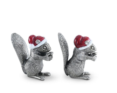 "Vagabond House Pewter Santa Squirrels Salt and Pepper Shaker Set 2 1/2"" Tall"