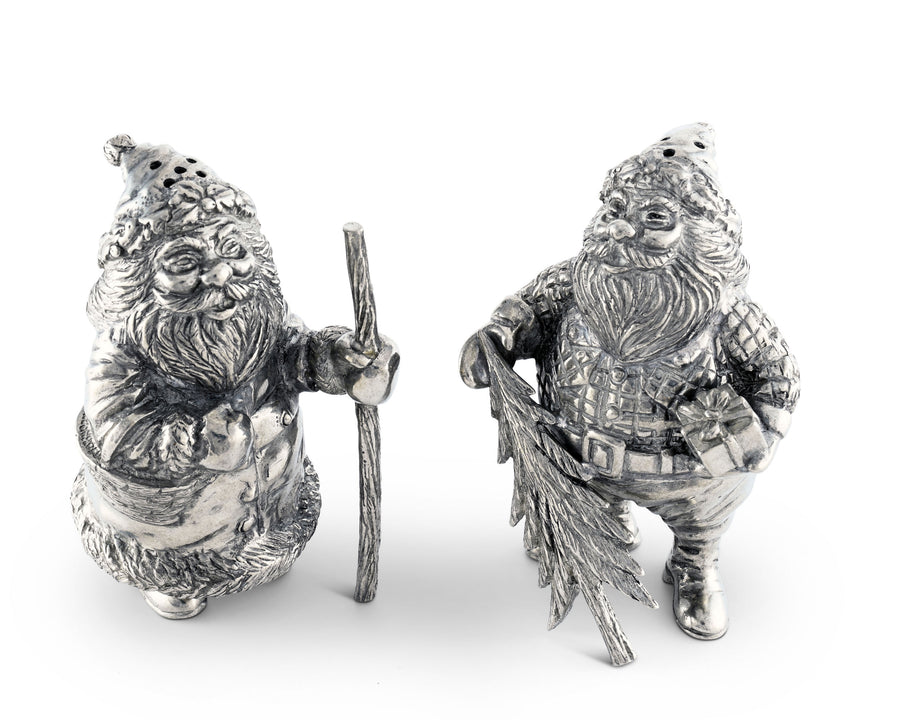 Vagabond House Pewter St. Nick / Santa Salt and Pepper Shaker Chirstmas Artisanal Gift 4 Inches Tall