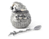 "Vagabond House Pewter Santa Christmas Sugar Bowl 4 1/2"" Tall"
