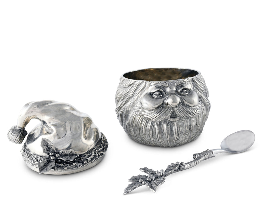 "Vagabond House Pewter Metal Santa / St Nick Christmas Sugar Bowl 4 1/2"" Tall"