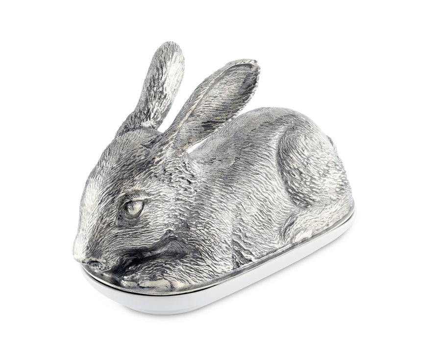 "Vagabond House Pewter Rabbit Butter Cream Cheese Dish 7.5"" Long x 3.5"" Wide"