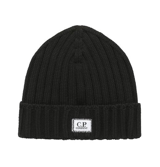 Merino Wool Plain Beanie Hat Black