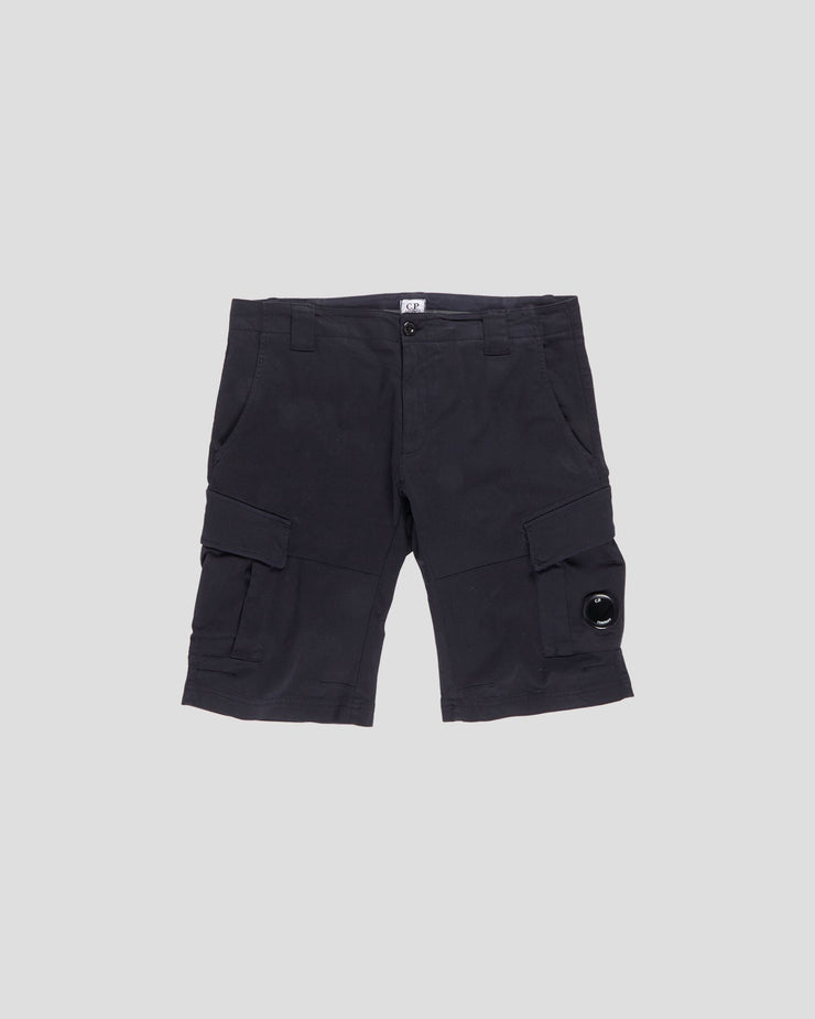 Garment Dyed Stretch Sateen Lens Pocket Shorts