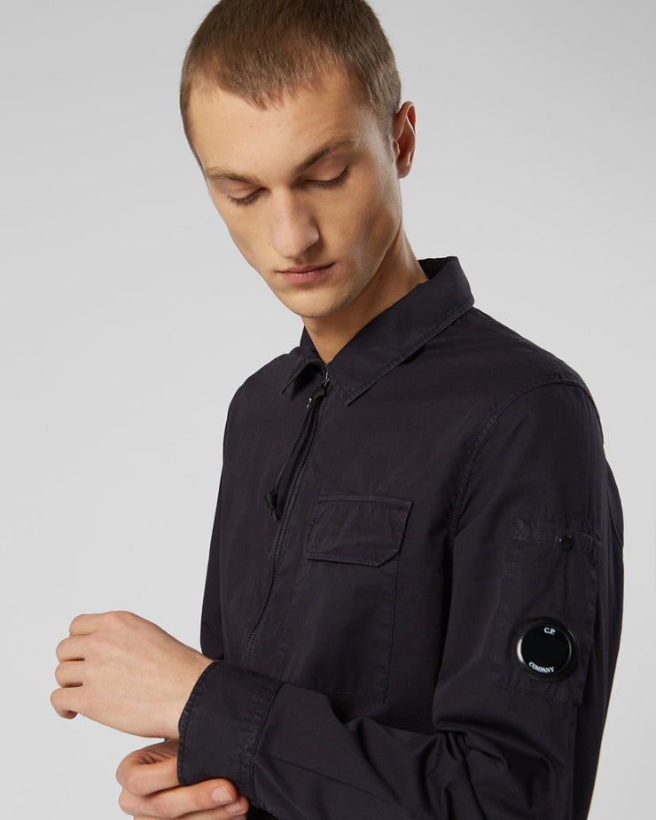 Garment Dyed Gabardine Zip-up Shirt