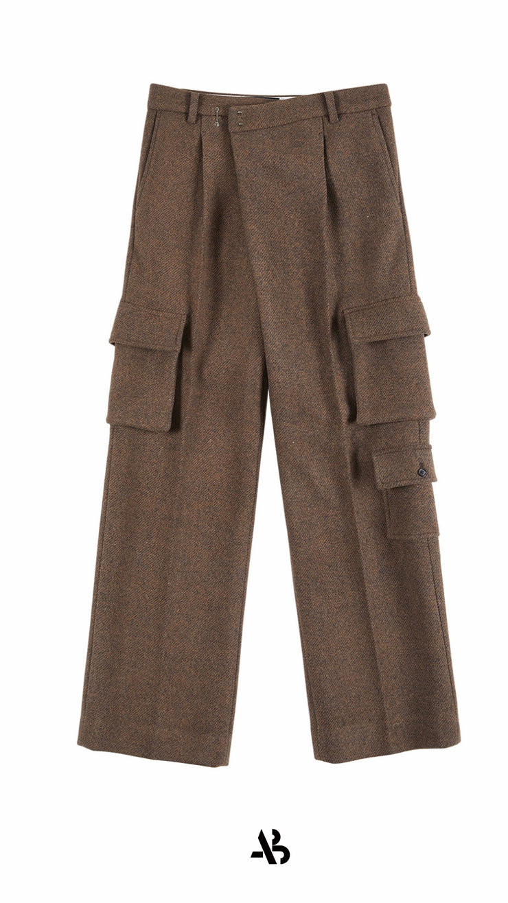 Matt multi cargo pocket check wide legged trousers