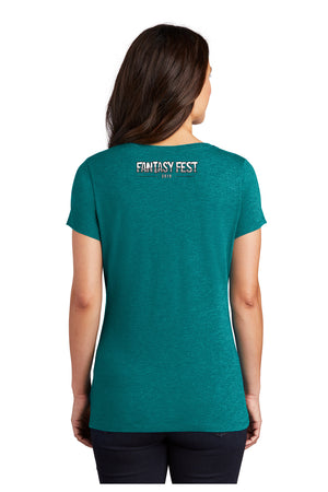 2019 Official Fantasy Fest Rooster V-Neck - Teal