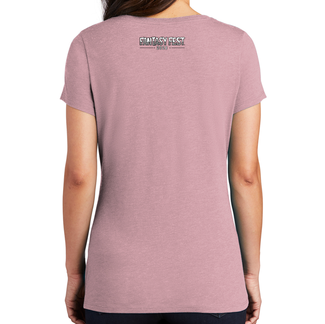Official 2020 Fantasy Fest Ladies V-Neck: Roaring 2020's & Future Fictions - Heathered Lavender